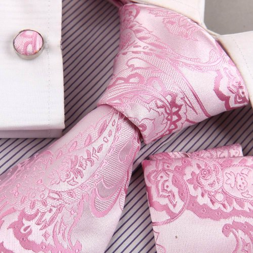 Pink wedding ties men light pink Patterned Woven Silk Neckie Hanky Cufflinks Gift Box Set Y&G excellent Necktie Set H8050