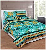 Soni Traders 144 TC Cotton Double Bedsheet - Floral, Green