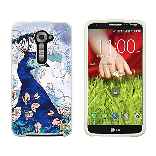 Slim Light Weight 2 Piece Snap On Non-Slip Matte Hard Design Rubber Coated Rubberized Case With Premium Protection For Lg G2 Vs980 (Verizon Version Only) - Blue Peacock - White - Retail Packaging