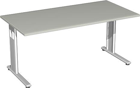 Gera Meubles de 618103S LG/SI Bureau Lisbonne, 160x 80x 72cm, gris clair/Argent