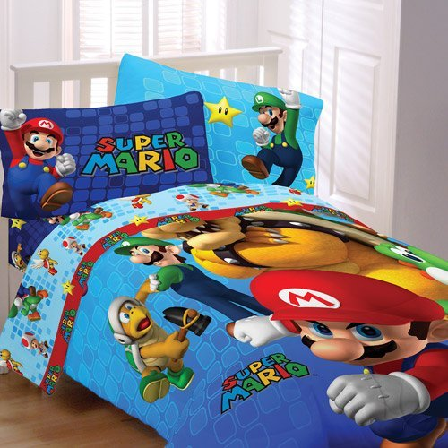 Super Mario Comforter Fitted Sheet Sets For Boys Bedroom