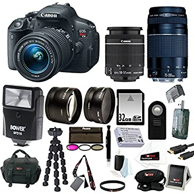 Canon EOS Rebel T5i Digital SLR with 18-55mm STM + 75-300mm EF III Lens + 2.2x Pro Telephoto Lens + 0.43x Wide Angle Lens + Slave Flash + 32GB SDHC Deluxe Accessory Kit