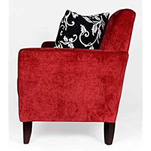 angelo:HOME Sutton Loveseat with 2 Black-and-White Vine-Patterned Pillows, Cherry Red