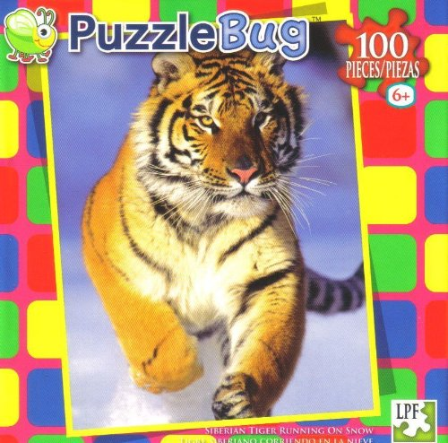 Puzzlebug Puzzle 100 Pieces ~ Siberian Tiger Running on Snow