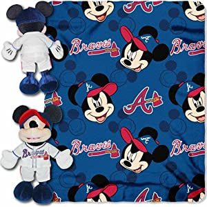 MLB Atlanta Braves Mickey Mouse Hugger with 40 x 50 Fleece Blanket by MLB