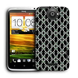 Snoogg Green Stars Pattern Printed Protective Phone Back Case Cover For HTC One X
