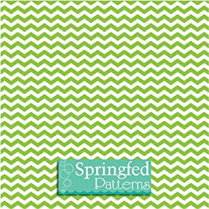 CHEVRON PATTERN Lime Green & White Craft Vinyl 3 Sheets 12x12 for Vinyl Cutters