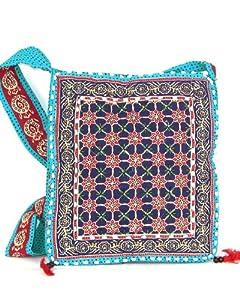 Blue Beaded Womens Cross Body Bag  Beautiful Tote Beach & Shopper Bag  Canvas Travel Bag