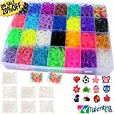 Talented Kidz Rubber Bands Refill and Storage Organizer Bundle with 7000 Rubber Bands in 28 Colors, 350 S Clips, 12 Charms and Beads
