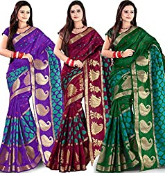 Combo Offer Indian Unique Fashion New Bollywood Best Women's Traditional Art Banarasi Silk Saree (Pack of 3, Multicolor)