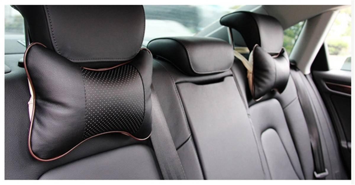 CAMTOA 2PCS Car Neck Pillow (Soft Version) Lovely Breathe Car Auto Head Neck Rest Cushion Headrest Pillow Pad (Black)