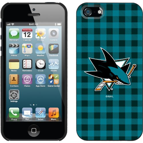 Special Sale San Jose Sharks« - Plaid design on a Black iPhone 5s / 5 Thinshield Snap-On Case by Coveroo