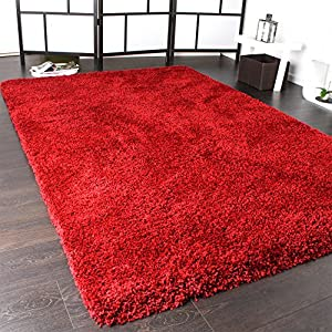 Shaggy Rug / Super Soft High Pile / Rio XXL Carpet / Shaggy Rug in Red by PHC