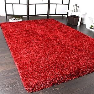 Shaggy Rug / Super Soft High Pile / Rio XXL Carpet / Shaggy Rug in Red, Size:240x340 cm by PHC