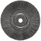 Weiler Trulock Narrow Face Wire Wheel Brush, Round Hole, Steel, Crimped Wire