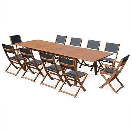 Alice's Garden - Salon de jardin en bois extensible - Almeria - Grande table 200/250/300cm avec 2 rallonge, 2 fauteuils et 8 chaises, en bois d'Eucalyptus FSC huilé et textilène gris anthracite