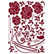 Reusable Decoration Wall Sticker Decal - Ruby Hanging Vineyard Bloom (Velvet with Rhinestones)