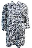 Evans Ex Stock Plus Size Pure Cotton Floral Pintuck Tie Back Blouse Shirt Top (22, Blue / White)
