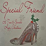 White Cotton Cards Special Friend Its Time to Sparkle Happy Christmas Handmade Card in Shoes Design