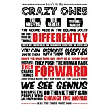 Here's To The Crazy Ones - Steve Jobs Quote Red & Black Typography - Poster( 13 IN X 19 IN )