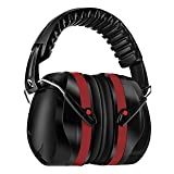 Homitt Sound Ear Muffs Hearing Protection, Noise Reduction Safety Earmuffs, Ear Defenders SNR 34dB with Noise Cancelling Technology for Shooting, Hunting, Working or Construction, with A Carry Bag (Color: Red)