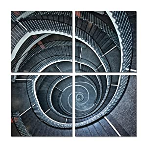 Stairway Maze. 40''x40'' Ready to Hang. Contemporary Art, Modern Wall Decor, 4 Panel Wood Mounted Giclee Canvas Print. E1059