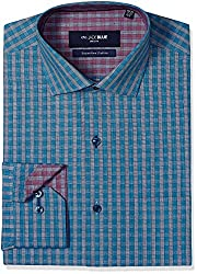 Jadeblue Men's Formal Shirt (1116204214PYJ2_14PY_42_Blue and Grey)