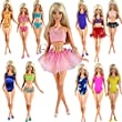 Barwa 5 Sets Swimwear Swimsuit Beach Bikini Bathing Clothes for Barbie Doll with Shoes Xmas Gift
