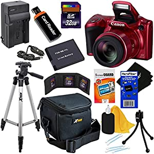 Canon Powershot SX410 IS 20 MP Digital Camera with 40x Optical Zoom and 720p HD Video (Red) + NB-11L Battery & AC/DC Battery Charger + 9pc Bundle 32GB Accessory Kit W/ HeroFiber Cleaning Cloth