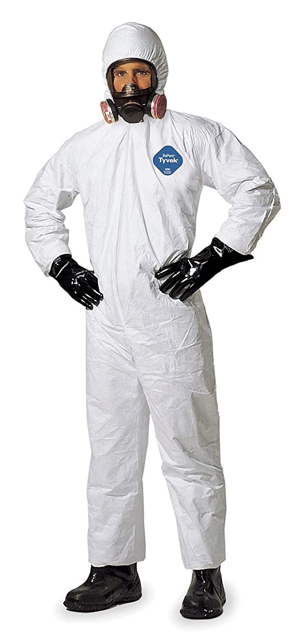 DuPont Tyvek 400 TY127S NAFTA Sourced Disposable Protective Coverall with Respirator-Fit Hood and Elastic Cuff, White, 3X-Large (Pack of 25) (Color: White, Tamaño: 3X-Large)