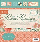 Die Cuts with A View 12-Inch by 12-Inch Premium Paper Stack with Glitter/Foil, Coral Couture