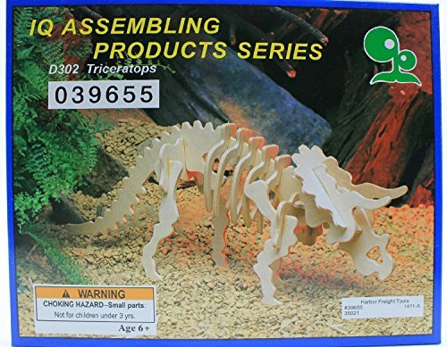 """ABC Products"" - Wooden 3-D ~ Dinosaur Assembling - Skeleton Kit (Triceratops Model - Helps Kids Develop Coordination and Problem-Solving Skills)."