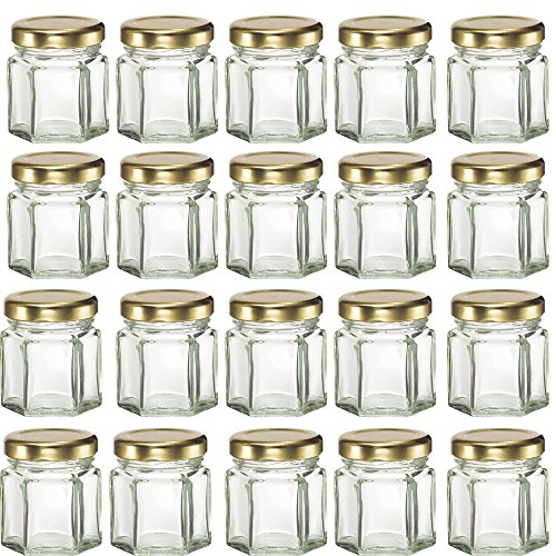 Mydio 20 Pack 1.5oz Glass Jars for Jam, Honey, Wedding Favors, Shower Favors, Baby Foods, DIY Magnetic Spice Jars,Case of 20