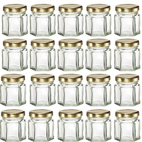 Mydio 20 Pack 1.5oz Glass Jars for Jam, Honey, Wedding Favors, Shower Favors, Baby Foods, DIY Magnetic Spice Jars,Case of 20