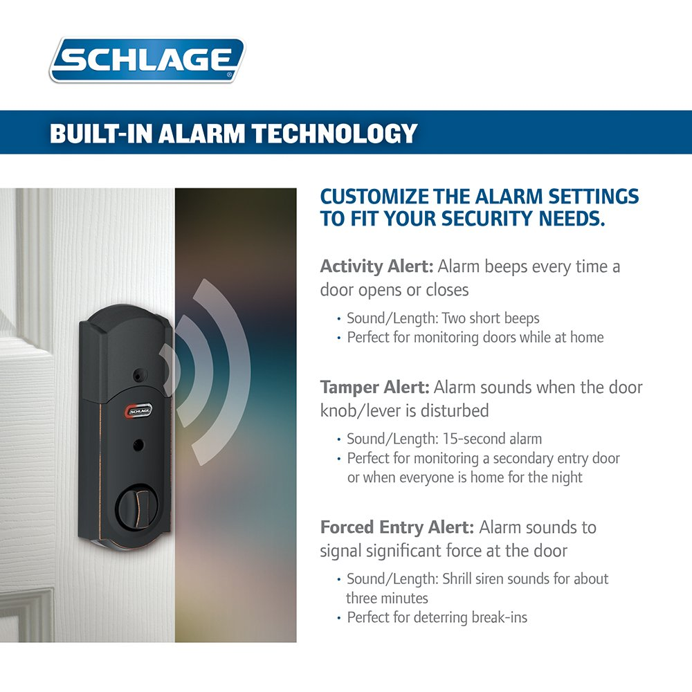 Schlage Connect Camelot Touchscreen Deadbolt with Built-In Alarm and Handleset Grip with Accent Lever, Aged Bronze, FE469NX ACC 716 CAM RH