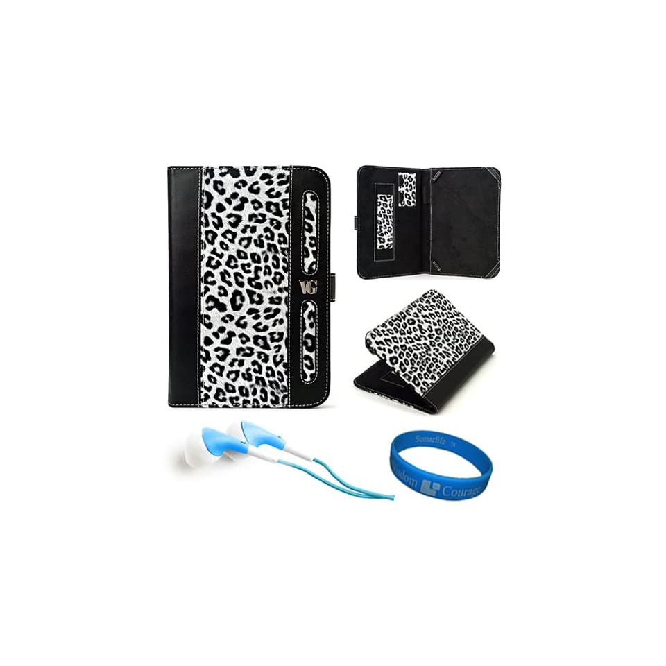 White Leopard Print SumacLife Dauphine Edition Executive Leather Portfolio Protective Carrying Case Cover for Samsung Galaxy Tab 2 (7.0) 7 inch Android 4.0 Tablet + Blue Hifi Noise Reducing Earphones + SumacLife TM Wisdom Courage Wristband