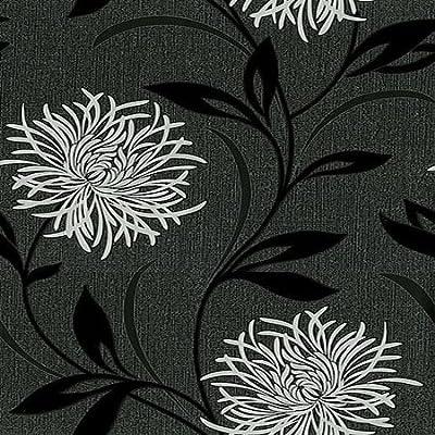 Fine Decor Antoinette Wallpaper - Black / Silver