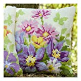 Vervaco Pastel Flowers Cross Stitch Cushion Multi Colour