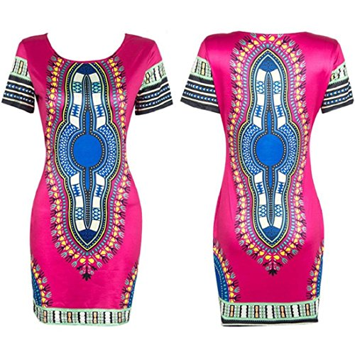 Orangesky Women Traditional African Print Dashiki Bodycon Short Sleeve Dress (XL, Hot pink)