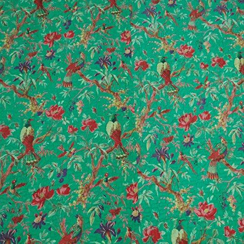 algodón puro verde estampado de flores lleno reina gudri cama edredón extendió 106