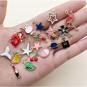 100PCS JIALEEY Assorted Gold Plated Enamel Animal Moon Star Fruit Charm Pendant DIY for Necklace Bracelet Jewelry Making and Crafting