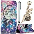 Samsung Galaxy S6 Edge SM-G925 Wallet Case, Vandot 3in1 Set Colorful Painting Pattern PU Leather Magnetic Flip Stand Practical Protective Cover+Crystal Angel Anti Dust Plug+Stylus Pen-Starry Sky Dreamcatcher
