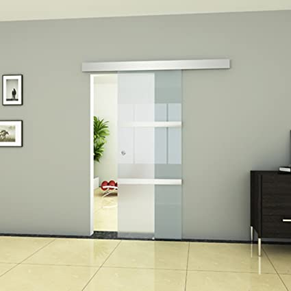 Modern Internal Sliding Glass Door with 3 Safety Glass Parts, Aluminium Track, Floor Guide and Knob
