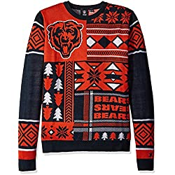 nfl chicago bears patches ugly sweater blue medium
