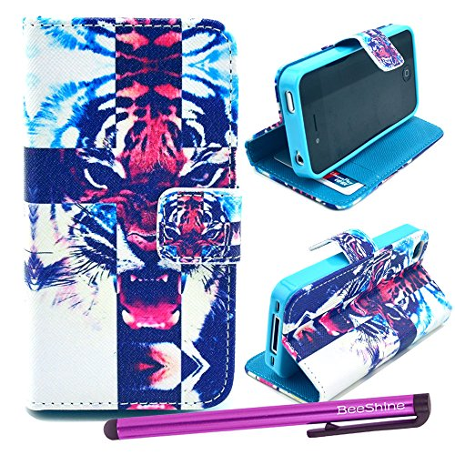 Beeshine Retail Package Pu Leather Flip Stand Card Holder Wallet Case Flap Pouch Cover Skin For Apple Iphone 4 4G 4S (At&T, Sprint, Verizon, T-Mobile) + Screen Protector & Touch Stylus Pen (Roar Tiger Pattern)