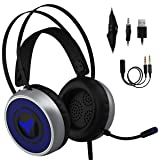 [Newest 2019] Gaming Headset for Xbox One, S, PS4, PC with LED Soft Breathing Earmuffs, Adjustable Microphone, Comfortable Mute & Volume Control, 3.5mm Adapter for Laptop, PS3, Nintendo (Color: Black/Grey, Tamaño: Regular)