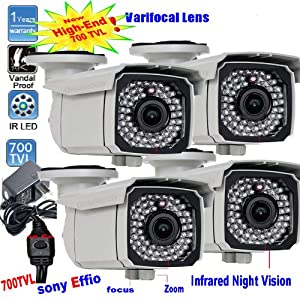 Lot of 4 Sony Exview Effio CCD 700TVL 66pcs infrared LEDs Night Vision Outdoor Security Camera Surveillance DVR