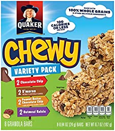 Quaker Chewy Granola Bars, Variety Pack, 8 - 0.84 oz ( 24g ) Bars Per Box (Pack of 6)