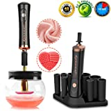 Makeup Brush Cleaner,Electric Makeup Brush Cleaner Machine Cosmetic Brush Cleaner Spinner Portable Professional Brush Cleaner Dryer Brush Cleaning Tool Fast Clean & Dry Makeup Brushes in Secs[Black] (Color: Black)