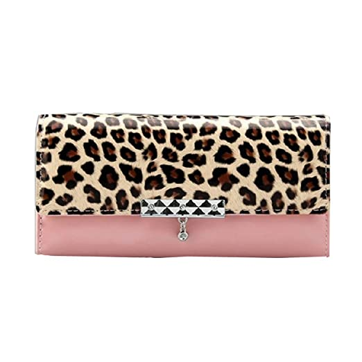 NEEWER® Leopard Faux Leather Card Long Wallet (Pink)